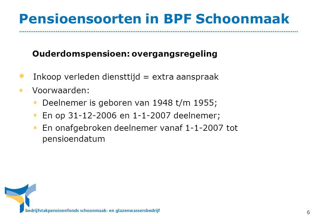 6 Pensioensoorten in BPF Schoonmaak • Inkoop verleden diensttijd = extra aanspraak • Voorwaarden:  Deelnemer is geboren van 1948 t/m 1955;  En op 31