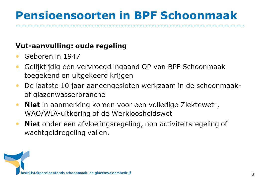 8 Pensioensoorten in BPF Schoonmaak Vut-aanvulling: oude regeling • Geboren in 1947 • Gelijktijdig een vervroegd ingaand OP van BPF Schoonmaak toegeke