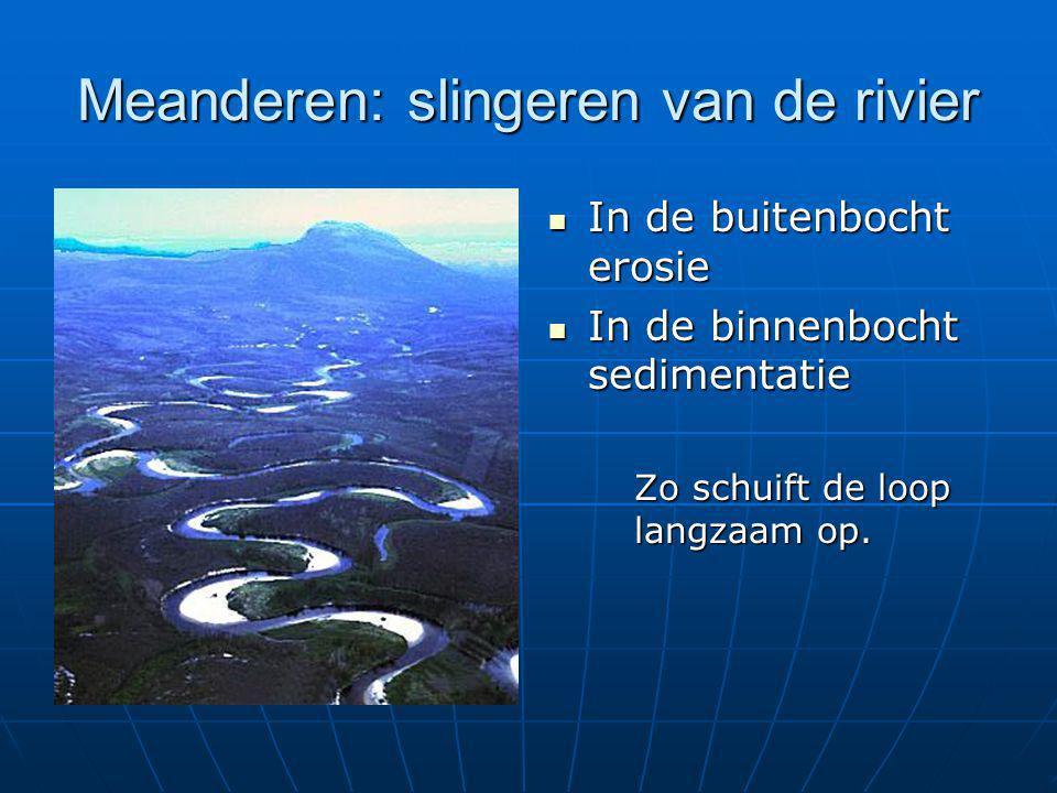 Meanderen: slingeren van de rivier  In de buitenbocht erosie  In de binnenbocht sedimentatie Zo schuift de loop langzaam op.