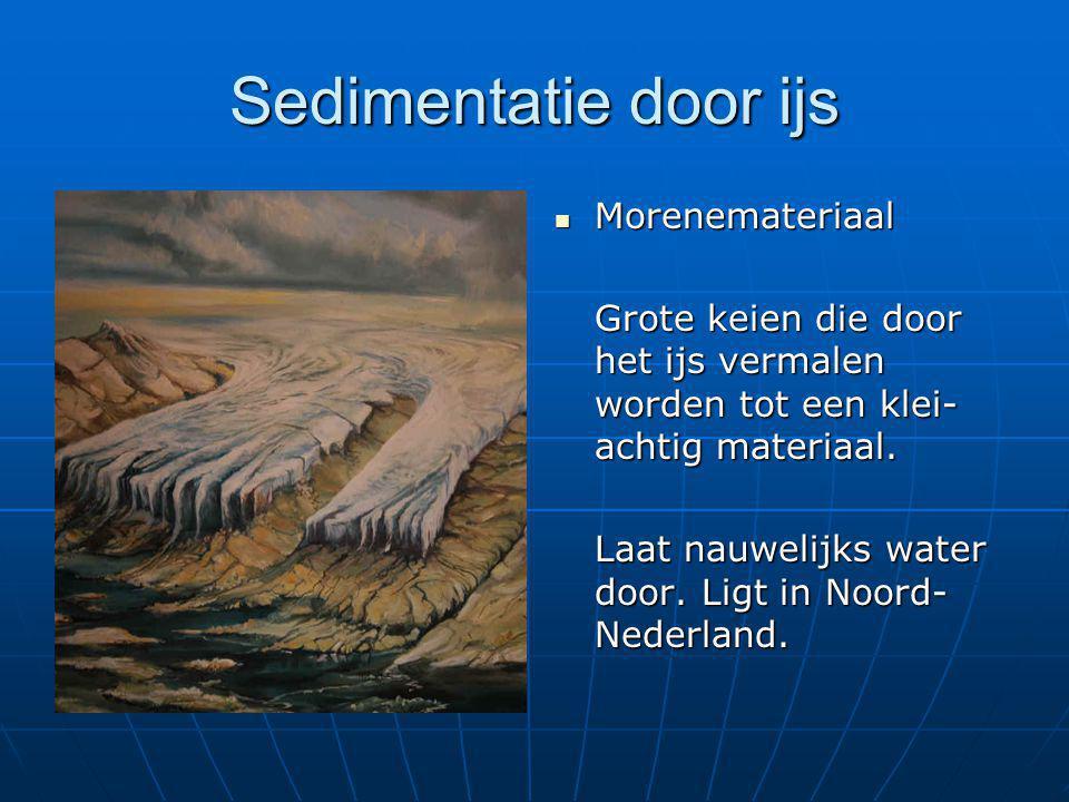 Sedimentatie door ijs  Morenemateriaal Grote keien die door het ijs vermalen worden tot een klei- achtig materiaal. Laat nauwelijks water door. Ligt