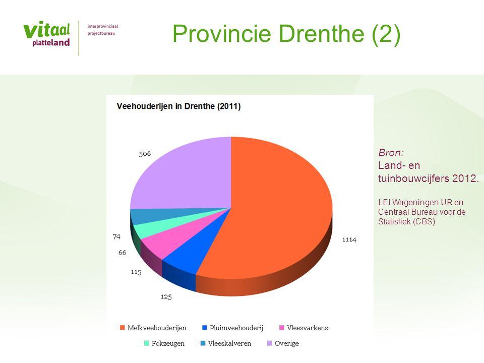 Provincie Drenthe (2) Bron: Land- en tuinbouwcijfers 2012. LEI Wageningen UR en Centraal Bureau voor de Statistiek (CBS)
