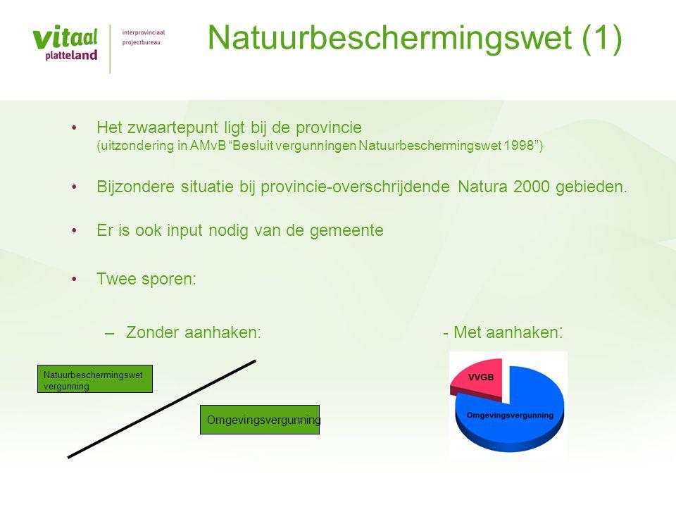 •Het zwaartepunt ligt bij de provincie (uitzondering in AMvB Besluit vergunningen Natuurbeschermingswet 1998 ) •Bijzondere situatie bij provincie-overschrijdende Natura 2000 gebieden.