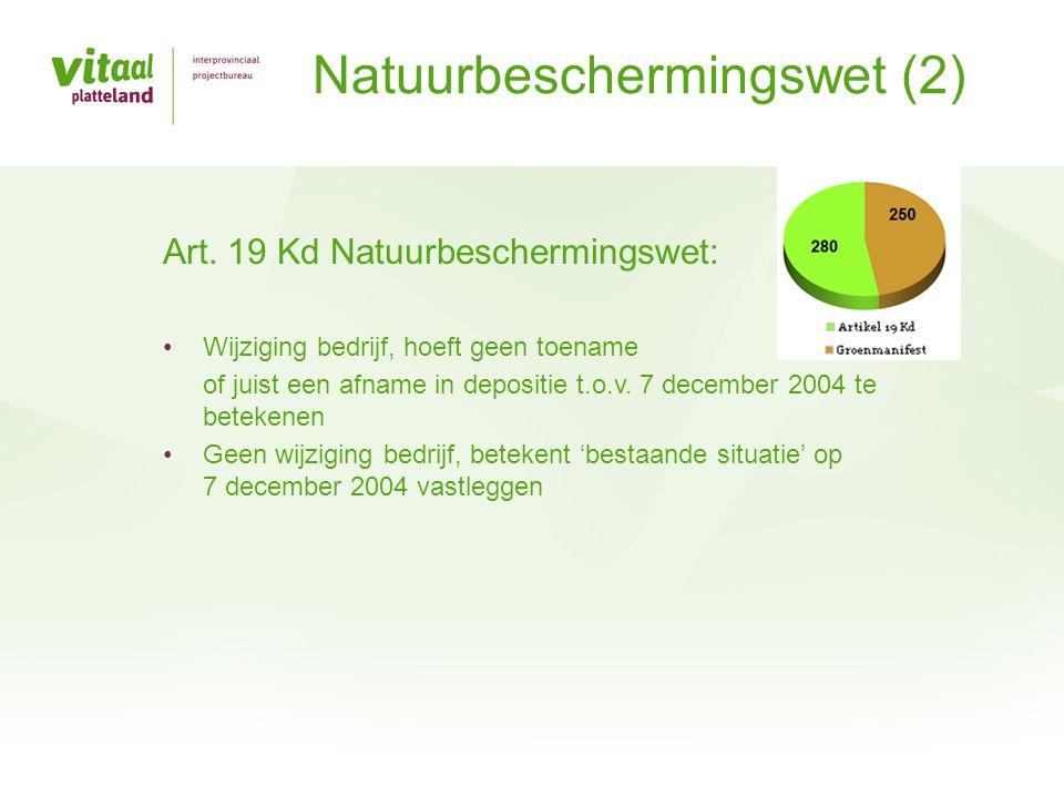 Art. 19 Kd Natuurbeschermingswet: •Wijziging bedrijf, hoeft geen toename of juist een afname in depositie t.o.v. 7 december 2004 te betekenen •Geen wi