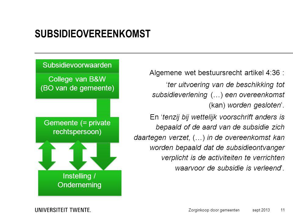 Algemene wet bestuursrecht artikel 4:36 : 'ter uitvoering van de beschikking tot subsidieverlening (…) een overeenkomst (kan) worden gesloten'. En 'te