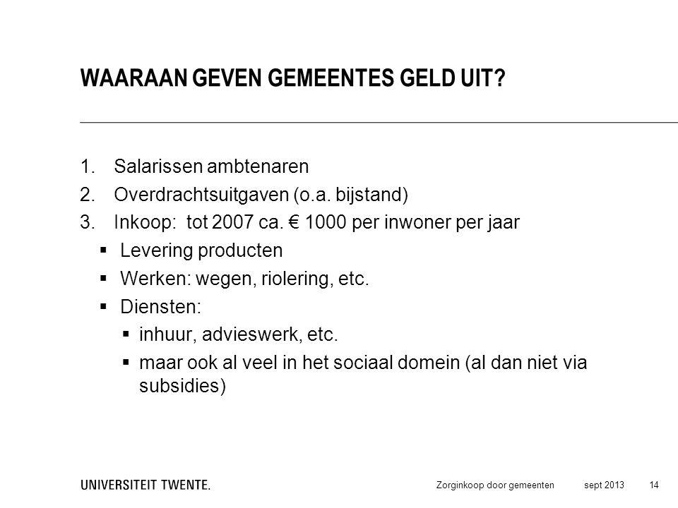 1.Salarissen ambtenaren 2.Overdrachtsuitgaven (o.a. bijstand) 3.Inkoop: tot 2007 ca. € 1000 per inwoner per jaar  Levering producten  Werken: wegen,