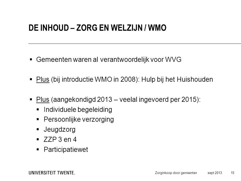 Gemeenten waren al verantwoordelijk voor WVG  Plus (bij introductie WMO in 2008): Hulp bij het Huishouden  Plus (aangekondigd 2013 – veelal ingevo