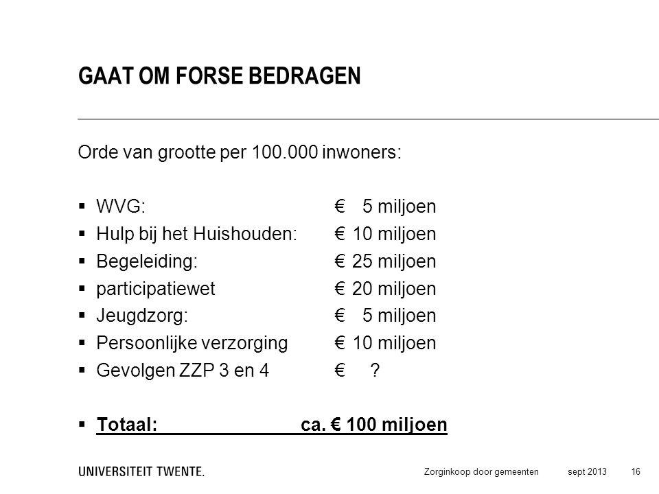 Orde van grootte per 100.000 inwoners:  WVG: € 5 miljoen  Hulp bij het Huishouden: € 10 miljoen  Begeleiding:€ 25 miljoen  participatiewet€20 milj