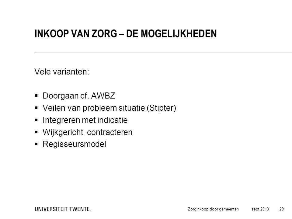 Vele varianten:  Doorgaan cf. AWBZ  Veilen van probleem situatie (Stipter)  Integreren met indicatie  Wijkgericht contracteren  Regisseursmodel s