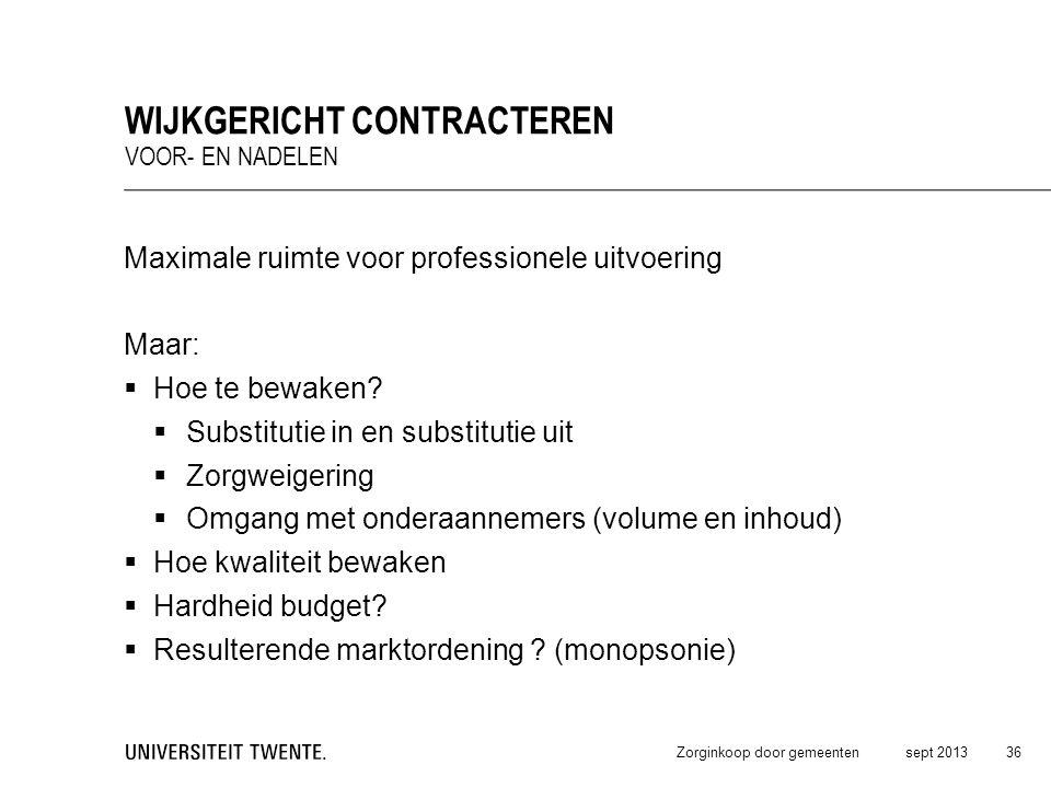 Maximale ruimte voor professionele uitvoering Maar:  Hoe te bewaken?  Substitutie in en substitutie uit  Zorgweigering  Omgang met onderaannemers