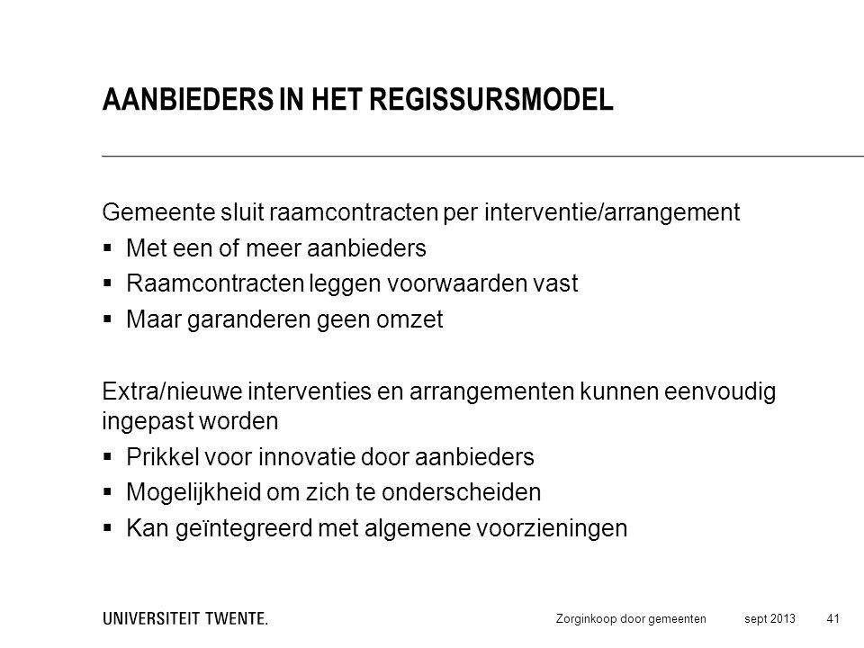 Gemeente sluit raamcontracten per interventie/arrangement  Met een of meer aanbieders  Raamcontracten leggen voorwaarden vast  Maar garanderen geen