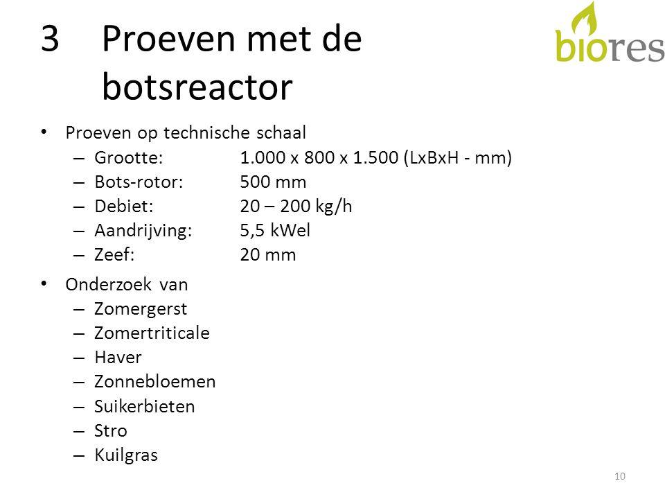 3Proeven met de botsreactor • Proeven op technische schaal – Grootte: 1.000 x 800 x 1.500 (LxBxH - mm) – Bots-rotor: 500 mm – Debiet:20 – 200 kg/h – Aandrijving:5,5 kWel – Zeef:20 mm • Onderzoek van – Zomergerst – Zomertriticale – Haver – Zonnebloemen – Suikerbieten – Stro – Kuilgras 10