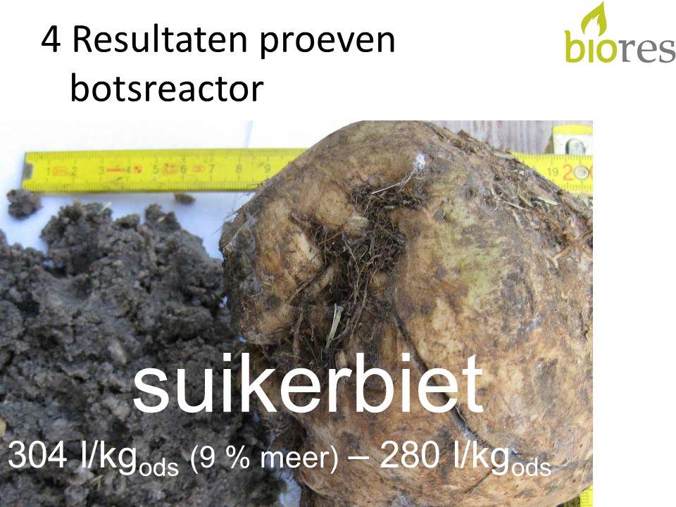 4 Resultaten proeven botsreactor suikerbiet 304 l/kg ods (9 % meer) – 280 l/kg ods