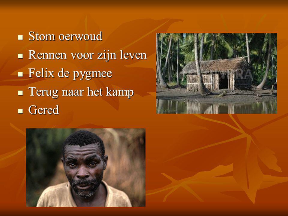  Stom oerwoud  Rennen voor zijn leven  Felix de pygmee  Terug naar het kamp  Gered