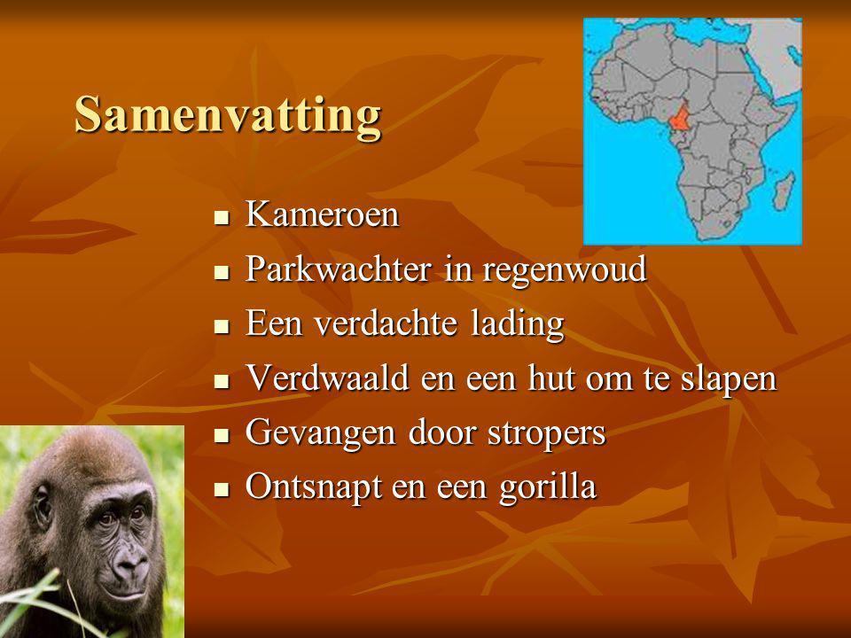 Samenvatting  Kameroen  Parkwachter in regenwoud  Een verdachte lading  Verdwaald en een hut om te slapen  Gevangen door stropers  Ontsnapt en een gorilla