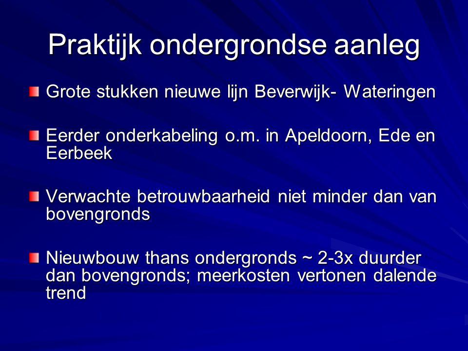 Praktijk ondergrondse aanleg Grote stukken nieuwe lijn Beverwijk- Wateringen Eerder onderkabeling o.m. in Apeldoorn, Ede en Eerbeek Verwachte betrouwb