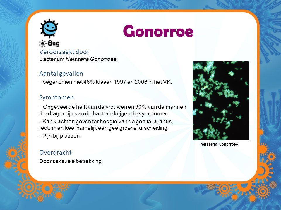 Gonorroe Veroorzaakt door Bacterium Neisseria Gonorroee. Aantal gevallen Toegenomen met 46% tussen 1997 en 2006 in het VK. Symptomen - Ongeveer de hel
