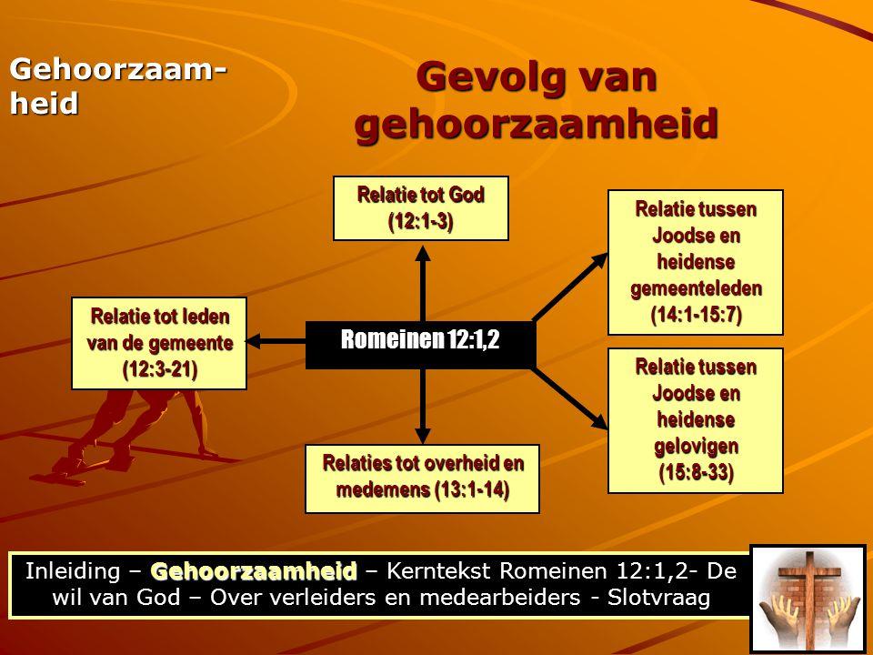 Gehoorzaamheid Inleiding – Gehoorzaamheid – Kerntekst Romeinen 12:1,2- De wil van God – Over verleiders en medearbeiders - Slotvraag Gevolg van gehoorzaamheid Gehoorzaam- heid Romeinen 12:1,2 Relatie tot God (12:1-3) Relatie tot leden van de gemeente (12:3-21) Relatie tussen Joodse en heidense gemeenteleden (14:1-15:7) Relatie tussen Joodse en heidense gelovigen (15:8-33) Relaties tot overheid en medemens (13:1-14)