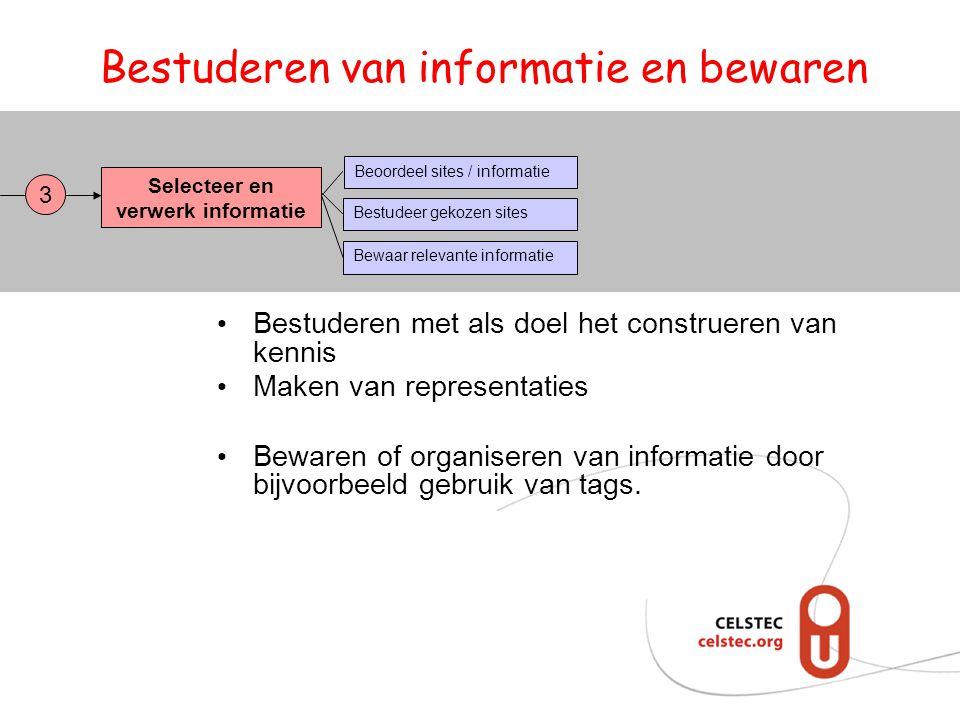 Bestuderen van informatie en bewaren Selecteer en verwerk informatie Bestudeer gekozen sites Bewaar relevante informatie Beoordeel sites / informatie