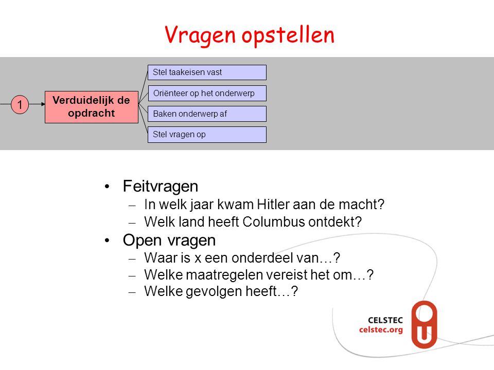 Vragen opstellen • Feitvragen – In welk jaar kwam Hitler aan de macht? – Welk land heeft Columbus ontdekt? • Open vragen – Waar is x een onderdeel van
