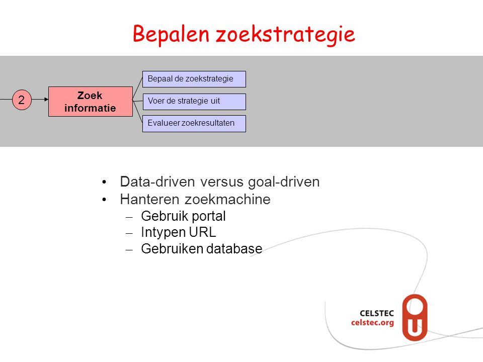 Bepalen zoekstrategie Zoek informatie Bepaal de zoekstrategie Evalueer zoekresultaten Voer de strategie uit 2 • Data-driven versus goal-driven • Hante