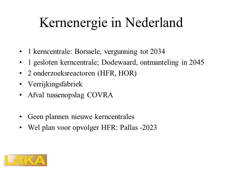 Kernenergie in Nederland •1 kerncentrale: Borssele, vergunning tot 2034 •1 gesloten kerncentrale; Dodewaard, ontmanteling in 2045 •2 onderzoeksreactoren (HFR, HOR) •Verrijkingsfabriek •Afval tussenopslag COVRA •Geen plannen nieuwe kerncentrales •Wel plan voor opvolger HFR: Pallas -2023