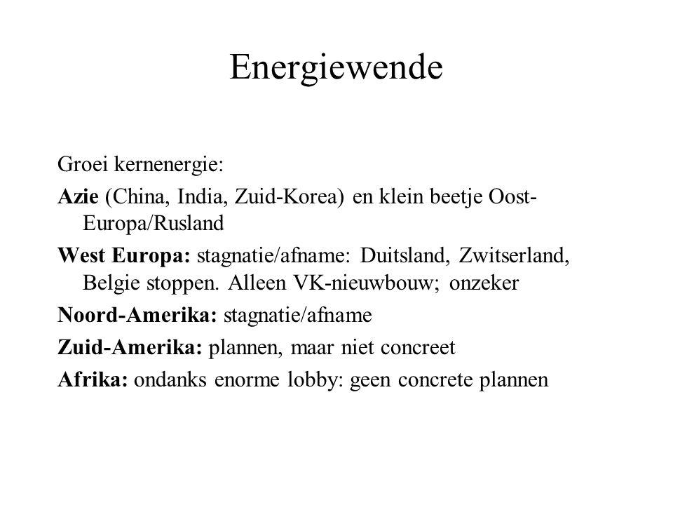 Energiewende Groei kernenergie: Azie (China, India, Zuid-Korea) en klein beetje Oost- Europa/Rusland West Europa: stagnatie/afname: Duitsland, Zwitserland, Belgie stoppen.