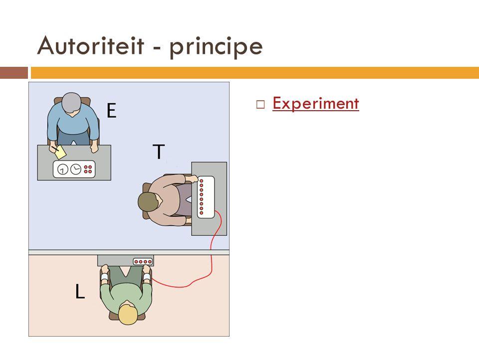 Autoriteit - principe  Experiment Experiment