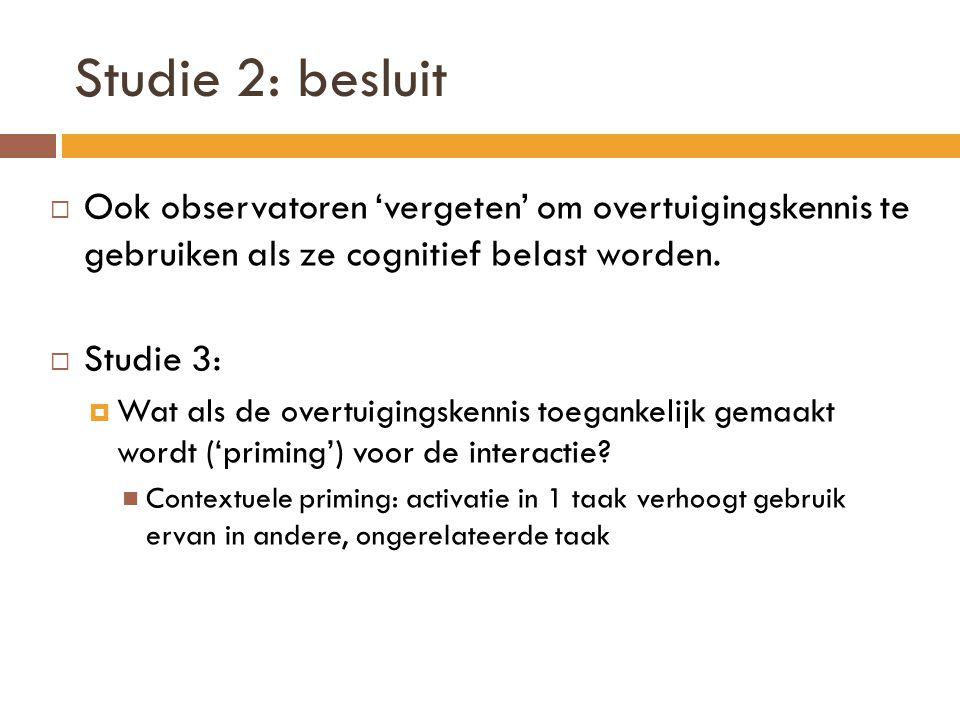 Studie 2: besluit  Ook observatoren 'vergeten' om overtuigingskennis te gebruiken als ze cognitief belast worden.
