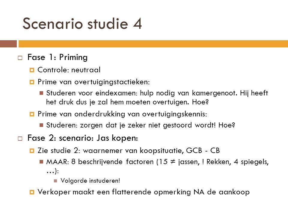 Scenario studie 4  Fase 1: Priming  Controle: neutraal  Prime van overtuigingstactieken:  Studeren voor eindexamen: hulp nodig van kamergenoot.