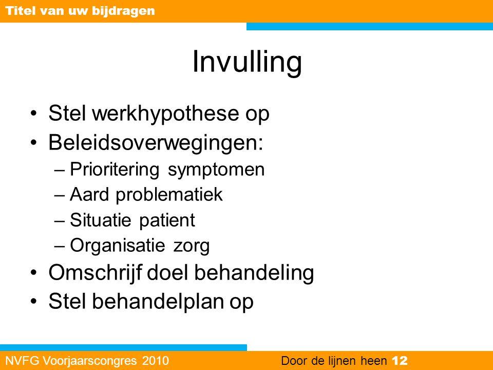 Invulling •Stel werkhypothese op •Beleidsoverwegingen: –Prioritering symptomen –Aard problematiek –Situatie patient –Organisatie zorg •Omschrijf doel