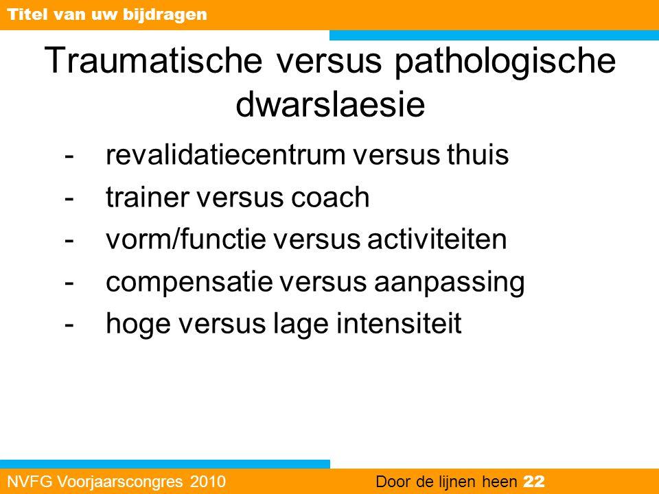 Traumatische versus pathologische dwarslaesie -revalidatiecentrum versus thuis -trainer versus coach -vorm/functie versus activiteiten -compensatie ve