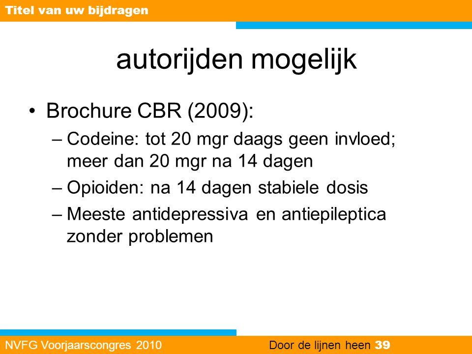 autorijden mogelijk •Brochure CBR (2009): –Codeine: tot 20 mgr daags geen invloed; meer dan 20 mgr na 14 dagen –Opioiden: na 14 dagen stabiele dosis –