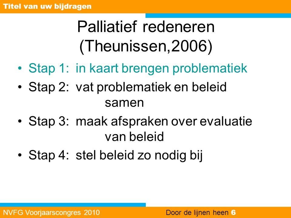 Palliatief redeneren (Theunissen,2006) •Stap 1:in kaart brengen problematiek •Stap 2: vat problematiek en beleid samen •Stap 3: maak afspraken over ev