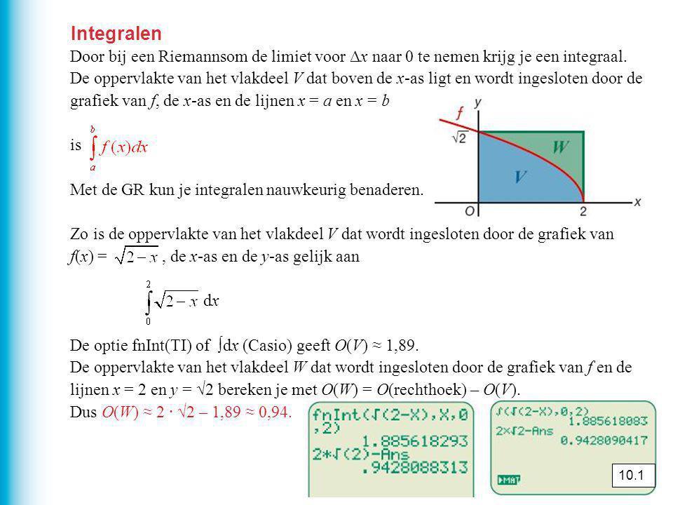 Integralen Door bij een Riemannsom de limiet voor ∆x naar 0 te nemen krijg je een integraal.