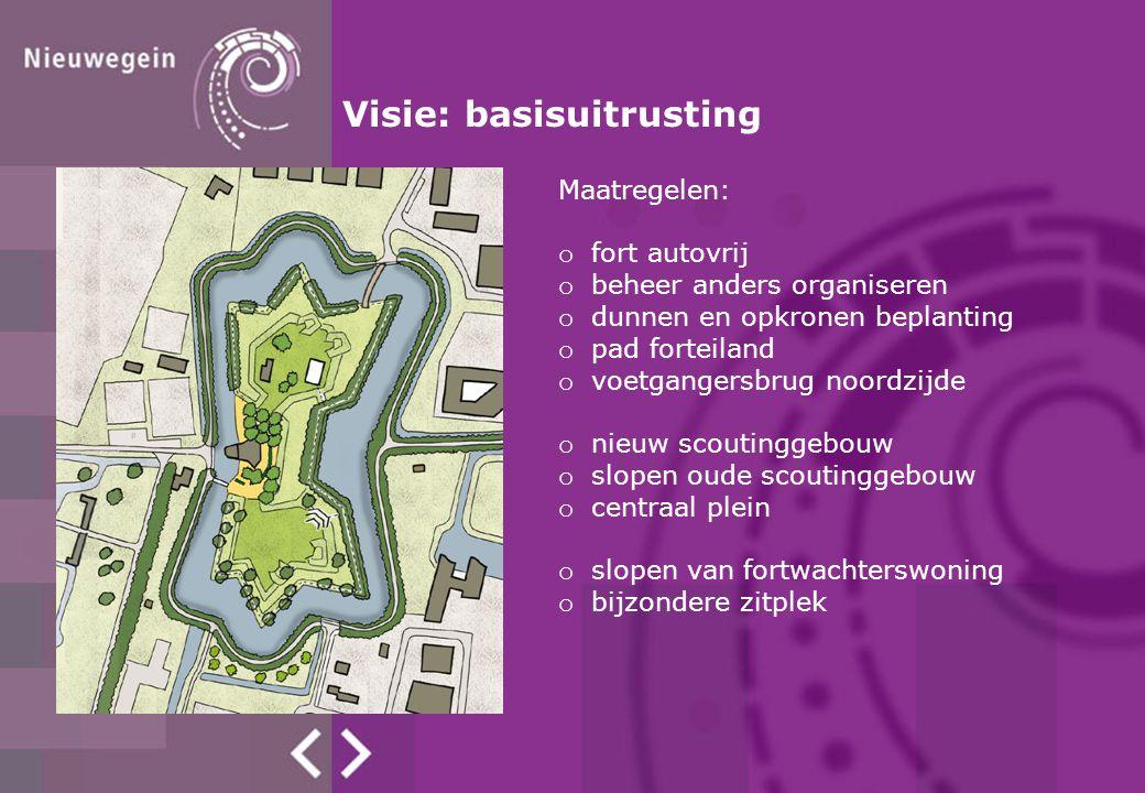 Visie: basisuitrusting Maatregelen: o fort autovrij o beheer anders organiseren o dunnen en opkronen beplanting o pad forteiland o voetgangersbrug noo