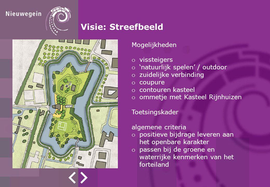 Mogelijkheden o vissteigers o 'natuurlijk spelen' / outdoor o zuidelijke verbinding o coupure o contouren kasteel o ommetje met Kasteel Rijnhuizen Toe