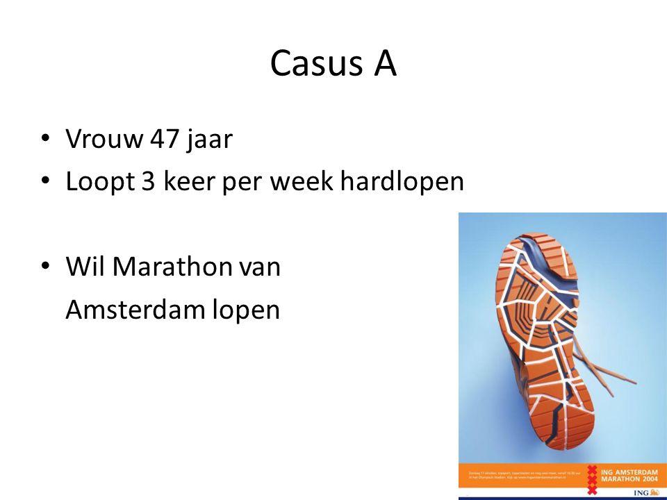 Casus A • Vrouw 47 jaar • Loopt 3 keer per week hardlopen • Wil Marathon van Amsterdam lopen