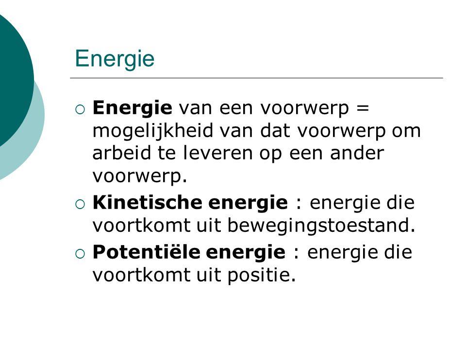 Energie  Energie van een voorwerp = mogelijkheid van dat voorwerp om arbeid te leveren op een ander voorwerp.  Kinetische energie : energie die voor