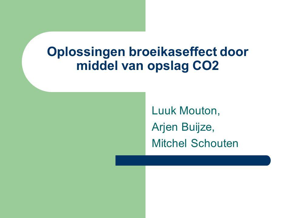 Oplossingen broeikaseffect door middel van opslag CO2 Luuk Mouton, Arjen Buijze, Mitchel Schouten