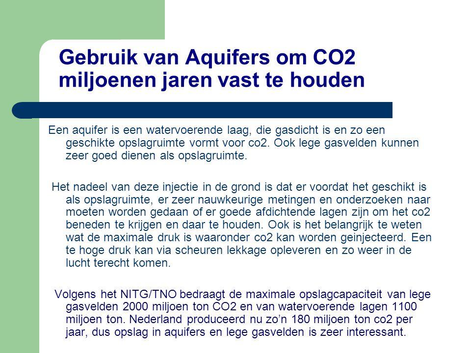 Gebruik van Aquifers om CO2 miljoenen jaren vast te houden Een aquifer is een watervoerende laag, die gasdicht is en zo een geschikte opslagruimte vor