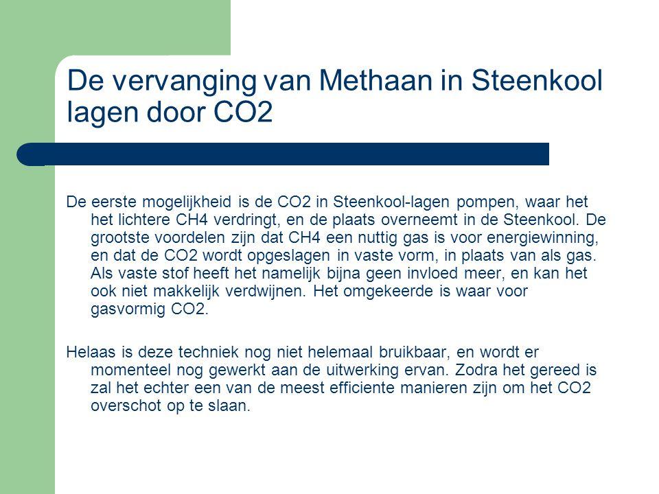 De vervanging van Methaan in Steenkool lagen door CO2 De eerste mogelijkheid is de CO2 in Steenkool-lagen pompen, waar het het lichtere CH4 verdringt,