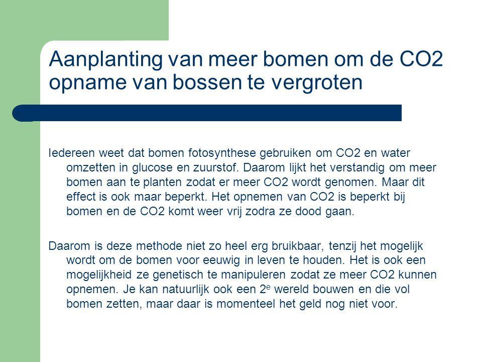 Opslag van CO2 in de diepzee als voedingsbron voor organismen De opslag van CO2 in de diepzee van de oceanen is ook een optie.