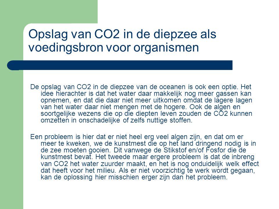 Opslag van CO2 in de diepzee als voedingsbron voor organismen De opslag van CO2 in de diepzee van de oceanen is ook een optie. Het idee hierachter is
