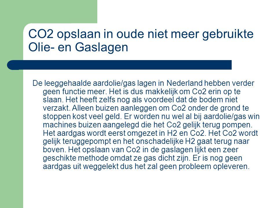 CO2 opslaan in oude niet meer gebruikte Olie- en Gaslagen De leeggehaalde aardolie/gas lagen in Nederland hebben verder geen functie meer. Het is dus