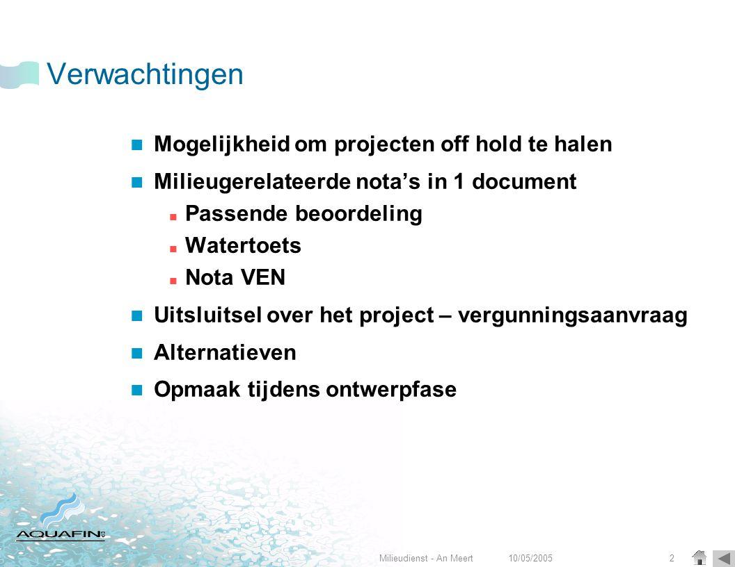 10/05/2005Milieudienst - An Meert2 Verwachtingen  Mogelijkheid om projecten off hold te halen  Milieugerelateerde nota's in 1 document  Passende be