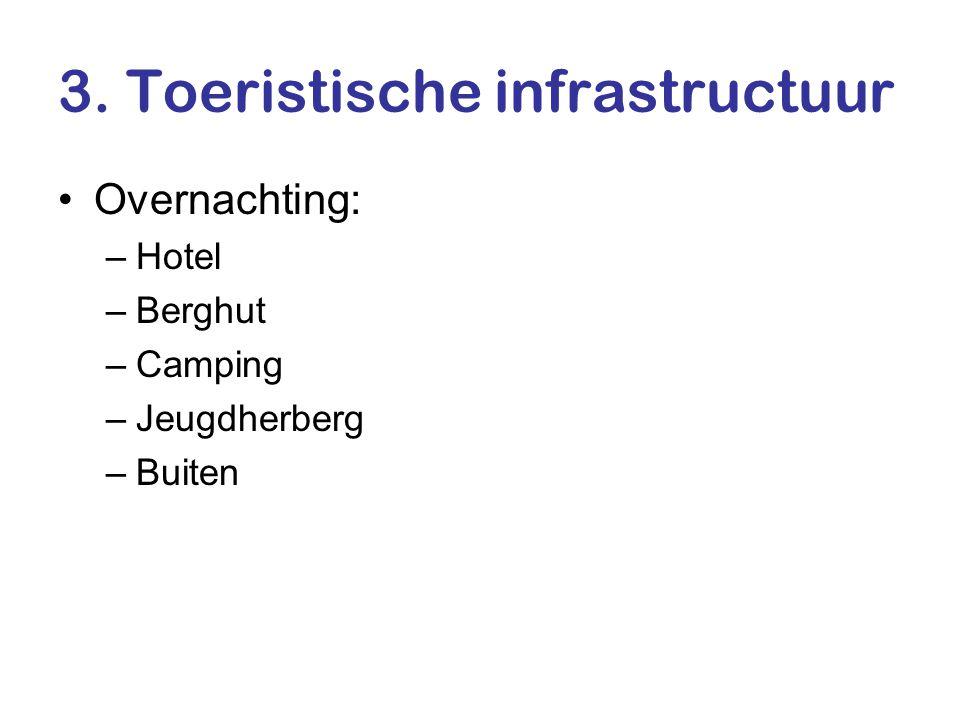 3. Toeristische infrastructuur •Overnachting: –Hotel –Berghut –Camping –Jeugdherberg –Buiten