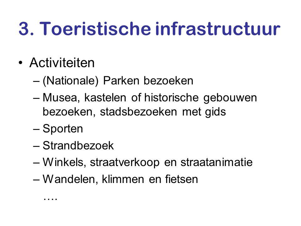 3. Toeristische infrastructuur •Activiteiten –(Nationale) Parken bezoeken –Musea, kastelen of historische gebouwen bezoeken, stadsbezoeken met gids –S