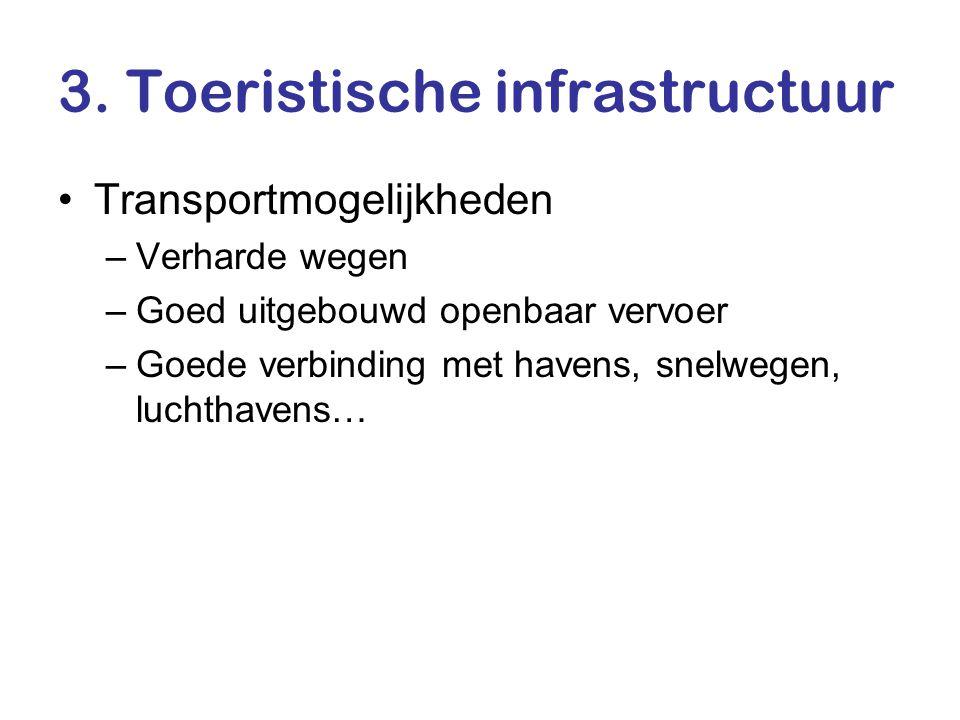 3. Toeristische infrastructuur •Transportmogelijkheden –Verharde wegen –Goed uitgebouwd openbaar vervoer –Goede verbinding met havens, snelwegen, luch