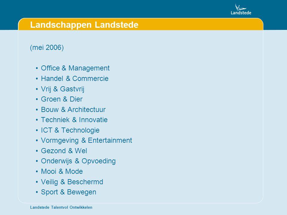 Landstede Talentvol Ontwikkelen Landschappen Landstede (mei 2006) •Office & Management •Handel & Commercie •Vrij & Gastvrij •Groen & Dier •Bouw & Arch