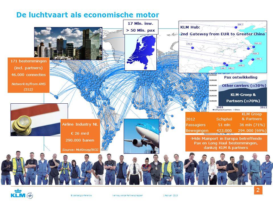 Bilderbergconferentie Vernieuwende Partnerschappen 1 februari 2013 3 3November, 2 De luchtvaart als economische motor Airline Industry NL € 26 mrd 290.000 banen Source: McKinsey/BCG 171 bestemmingen (incl.